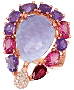 LeVian Le Vian Multi-Gemstone (10-5/8 ct. t.w.) & Diamond (1/8 ct. t.w.) Ring in 14k Rose Gold
