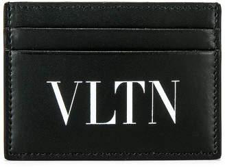 Valentino Logo Card Holder in Black & White | FWRD