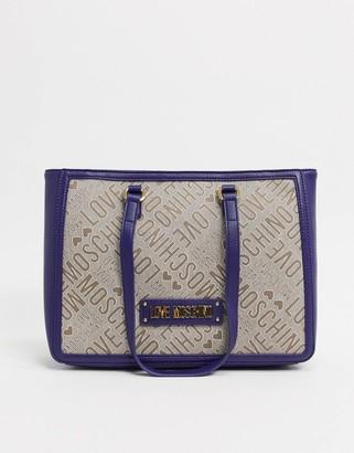 Love Moschino logo jacquard tote bag in navy