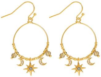 Accessorize Z Swarovski Starry Charm Hoop Earrings - Gold