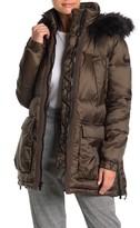 Rachel Roy Faux Fur Trim Hooded Zip Puffer Jacket
