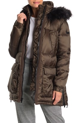 Rachel Roy Faux Fur Trim Hooded Zip Puffer Jacket