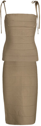 Herve Leger Brown Bandage Tie Detail Top and Skirt Set M