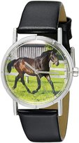 Whimsical Watches Kids' R0110027 Classic Hanoverian Horse Black Leather And Silvertone Photo Watch