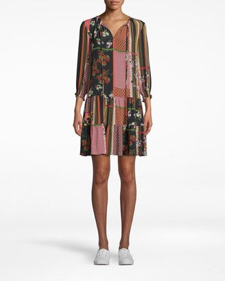 Nicole Miller Provence Floral Keyhole Tie Dress