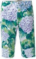 Dolce & Gabbana hydrangea print denim shorts