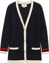 Gucci Appliquéd Striped Cotton-blend Cardigan - Navy