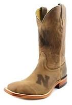 Nocona Nebraska Brown Cowhide Branded Men Square Toe Leather Western Boot.