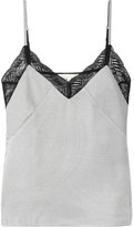 Maje Lace-trimmed Striped Twill Camisole - Gray