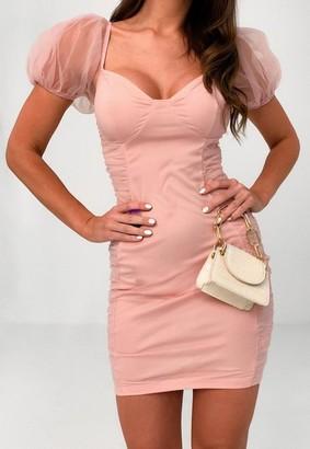 Missguided Pink Chiffon Sleeve Bodycon Mini Dress