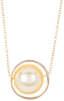 Stephan & Co Metal Ring Simulated Pearl Inlay Pendant Necklace