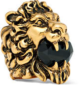 Gucci - Lion's Head Burnished Gold-Tone Swarovski Crystal Ring