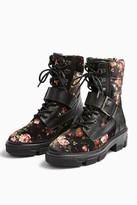 Topshop Womens America Floral Print Hiker Boots - Multi