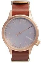 Komono 'Magnus The One' Round Leather Strap Watch, 46mm