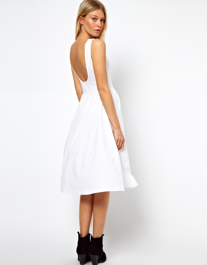Asos Midi Fit and Flare Dress with Scoop Back