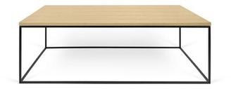 Brayden Studio Soltane Coffee Table Table Base Color: Black Lacquered Steel, Table Top Color: Wild Oak
