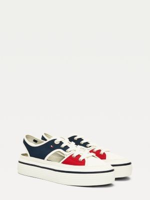 Tommy Hilfiger Canvas Cutout Flatform Trainers