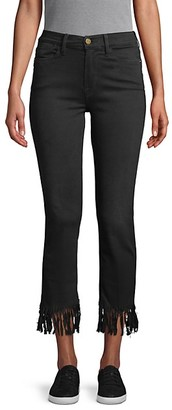 Frame Le High Straight Fringe-Hem Jeans