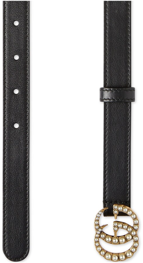 Thumbnail for your product : Gucci Leather belt with pearl Double G buckle