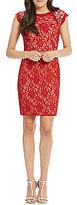 Jodi Kristopher Beaded Shoulders Glitter Lace Sheath Dress