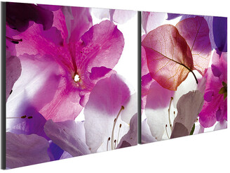 Chic Home Design Orchid 2Pc Set Wrapped Canvas Wall Art