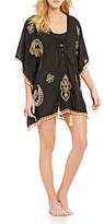 Gianni Bini Solid Embroidered Kaftan Cover-Up