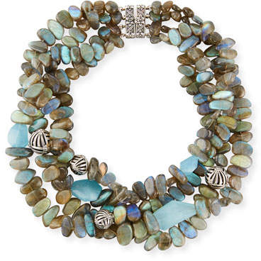 Stephen Dweck Four-Strand Labradorite & Blue Quartz Necklace