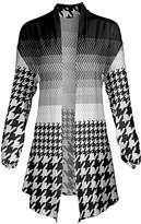 Lily Women's Open Cardigans BLK - Black & White Houndstooth Stripe Pointed-Hem Open Cardigan - Women & Plus