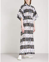 Kenzo Bamboo-print cotton and linen-blend shirt dress
