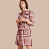 Burberry Ruffle Detail Cotton Check Shirt Dress