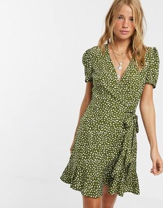 Influence wrap front skater dress in dalmation spot