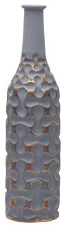 Element 20-inch Gray and Gold Loops Resin Vase