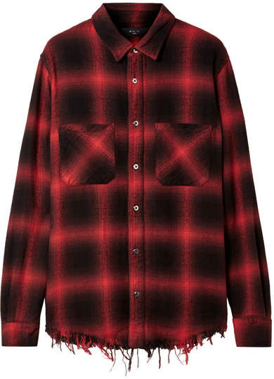 Amiri Frayed Cotton-flannel Shirt - Red