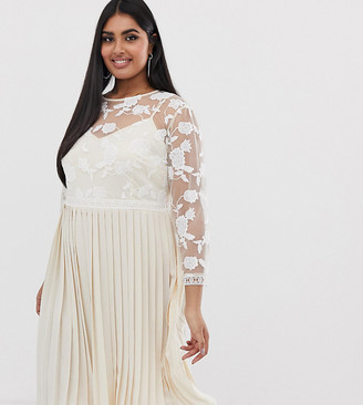 Little Mistress Plus lace embroidered top midi dress in cream