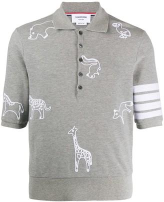 Thom Browne 4-Bar animal print polo shirt