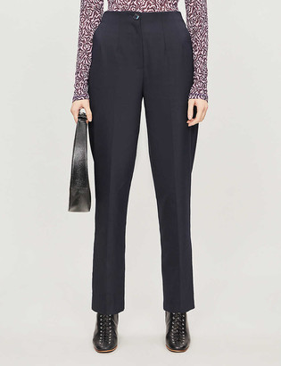 Whistles Anita high-waisted cropped woven trousers