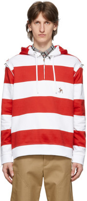 Burberry Red and White Striped Multi Zip Hoodie