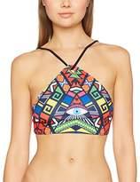 Jaded London Women's Rasta Eye Print Eyelet Crop Bikini Top,8