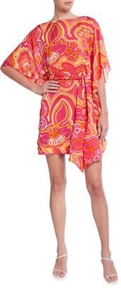Trina Turk Paradise Floral Jacquard Shift Short Dress