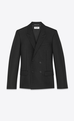 Saint Laurent Blazer Jacket Double-breasted Jacket In Grain De Poudre Mohair Black 34
