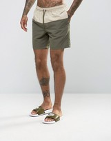Asos Swim Shorts In Khaki With Stone Panel In Mid Length