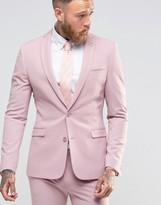 Asos Super Skinny Fit Suit Jacket In Pink