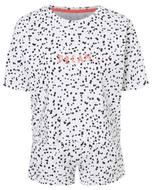George White Spotty Dream Slogan Short Pyjamas