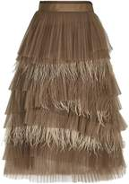 Brunello Cucinelli Tulle Midi Skirt, Beige, UK 10