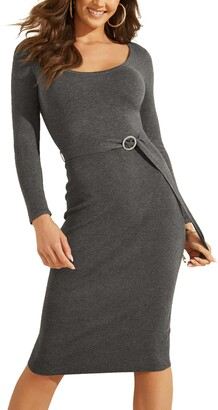 GUESS Kym Belted Long Sleeve Sweater Dress