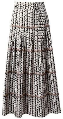 Akris Punto Parasol-Print Pleated A-Line Midi Skirt