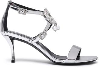 Roger Vivier Embellished Metallic Mirrored-leather Sandals