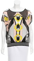 Class Roberto Cavalli Printed Embroidered-Trimmed Top w/ Tags
