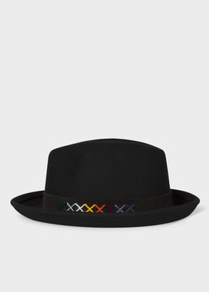 Paul Smith Men's Black Fedora With Colourful Cross Stitching