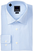 David Donahue Stripe Trim Fit Dress Shirt